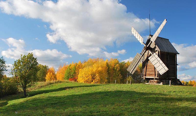 Фотография осенний пейзаж с мельницей